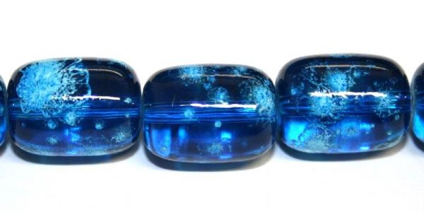 26pieces x 16mm*12mm Blue colour oval shape bubble gum glass beads / speckled glass beads -- 3005154